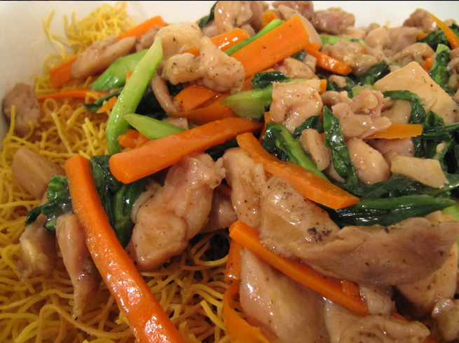 Cambodian Stir Fried Noodles with Chicken